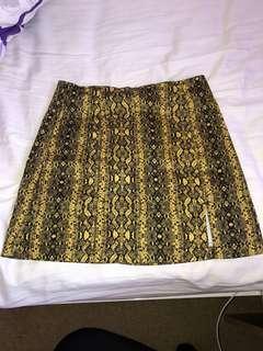 Yellow/black snake print skirt