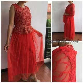 Red Gown + Selendang