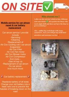 ✅ On-Site Car Aircon servicing & car battery replacement ! Car compressor car cooling coil service, car battery replacement car change battery ! Call me now @96682885 if Car Aircon not cold or need battery replacement