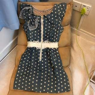 Polka Dot Denim Lace Dress with pocket