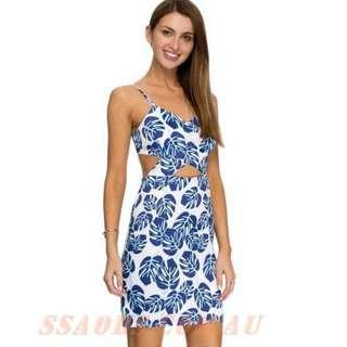 ATMOS AND HERE blue/white tropical bodycon midi dress 10