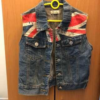 England Flag Denim Jacket Fashion Vest