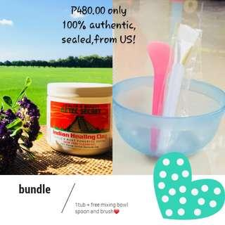 Aztec Secret Indian Healing Clay Mask with Free Mixing bowl spoon and brush Set