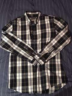 Zara Blue and White Checked Shirt
