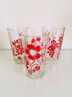 🚚 特價大拍賣!文青風普普風台灣懷舊早期玻璃杯老玻璃杯杯子3個一組150