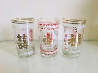 🚚 特價大拍賣!文青風普普風台灣懷舊早期玻璃杯老玻璃杯杯子3個一組300