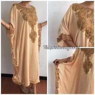 Kaftan Dress Peach Gold