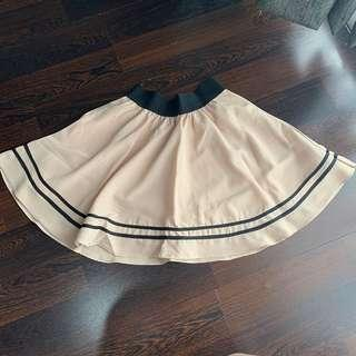 Rok Vintage Flare warna creme garis hitam
