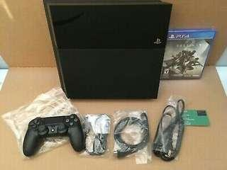 Sony PlayStation 4 ps4 - FAT 1,5 TB Black Console latest FW mint  + destiny 2