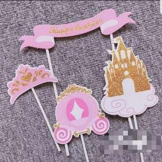 🚚 Party supplies: 4pcs DIY Princess castle cake topper for birthday/Party decoration