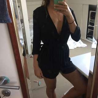 black sleeved jumpsuit