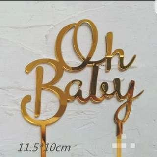 🚚 Oh baby acrylic cake topper birthday/ gender review