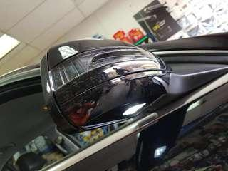 New Aftermarket Direct Plug and play Mercedes Benz W204 Class Saloon and Estate New Arrow Amber LED mirror covers with indicators / turn signal lights supplied as a pair for left and right