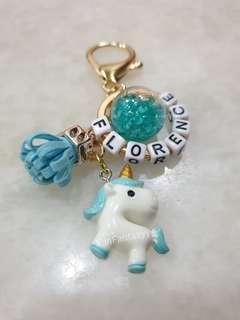 Light Blue Pony Keychain with customised name