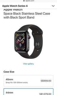 Apple Watch Series 4 - 44mm Space Black Stainless  Sports Band (GPS+CEL)
