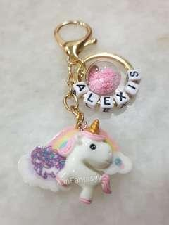 Pink Pony with Rainbow Keychain with customised name