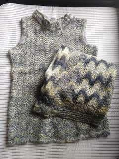Mohair vest and scarf set 冷背心加頸巾套裝