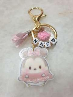 Minnie Mouse Tsum Tsum keychain with customised name