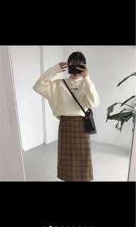 二手格紋毛呢窄裙長裙