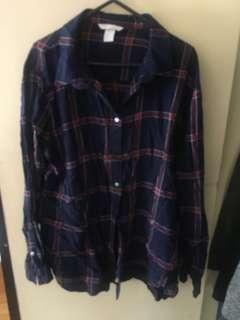 H&M red and navy plaid shirt