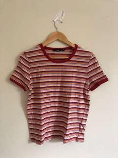 Red orange blue white stripe tshirt
