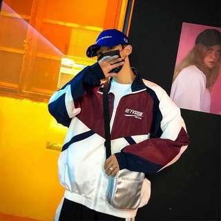 #180 (2 COLOURS) ulzzang vintage windbreaker jacket zip up colourblock retro