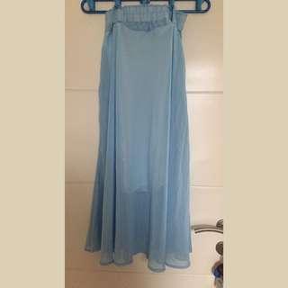 Rok Panjang Biru / Blue Skirt
