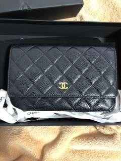 Chanel Caviar Calfskin Quilted Classic WOC Wallet On Chain Gold