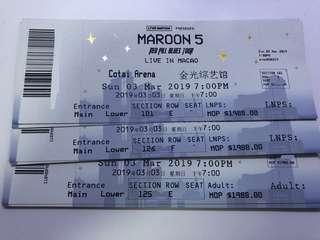 【低於原價】Maroon 5 澳門演唱會2019 魔力紅 門票 VIP