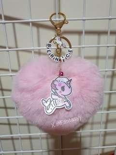 Tokidoki keychain with fur heart
