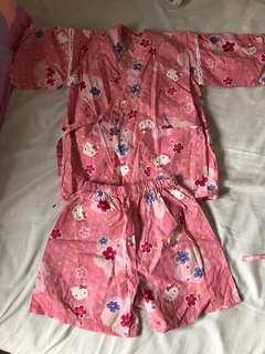購自日本 Japan Hello Kitty 短袖 夏季 夏日 夏天 日本和服套裝睡覺衣服粉紅色渡假 Feel