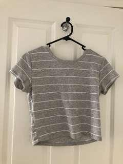 White and Grey Striped top