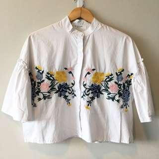 Zara ins embroidered top