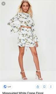 Missguided white floral skirt size 6