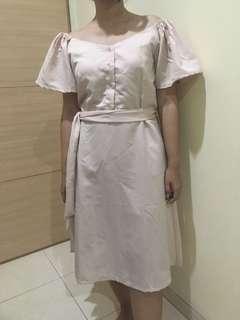 Sabrina Cream Basic Dress