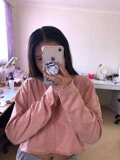 Pink topshop cropped sweatshirt