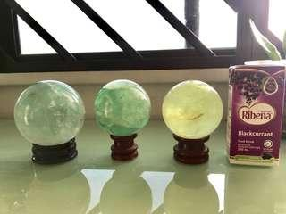 Set of 3 Green crystal balls
