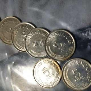 🚚 First series vintage 5 cents coin