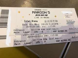 【超平特價】Maroon 5  澳門演唱會 魔力紅  Macau