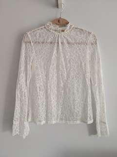 H&M white lace blouse long sleeve