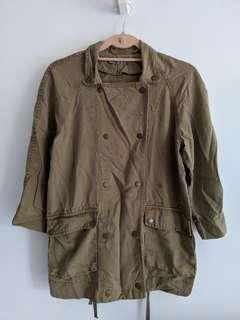 Zara khaki green lightweight parka