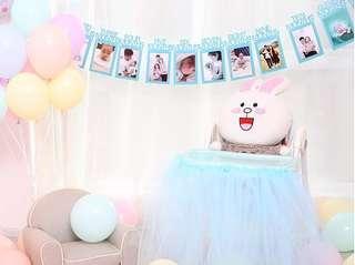 **NEW ARRIVAL** Baby Birthday Milestone Photo Banner - Metallic Blue