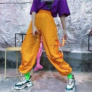 🚚 降價 橘色個性多口袋工裝褲