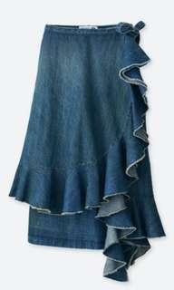 JW Anderson x Uniqlo denim ruffle wrap midi skirt