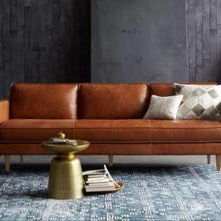 工業風北歐客廳雙人三人位皮藝梳化美式複古簡約皮沙發