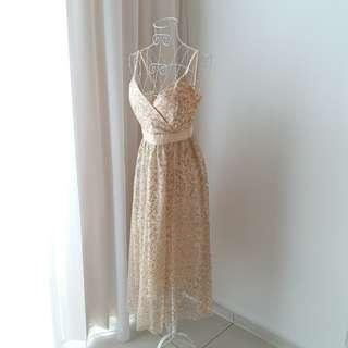 Golden Starry Fantasy Maxi Prom/ Dinner Dress