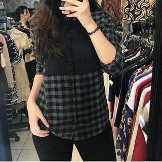 Atasan flanel mix katun black