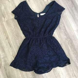 🚚 Abercrombie & Fitch Lace Ruffle Romper in Navy