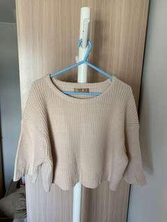 (99% new) 🇰🇷韓國製 杏色短身珍珠薄冷衫💕