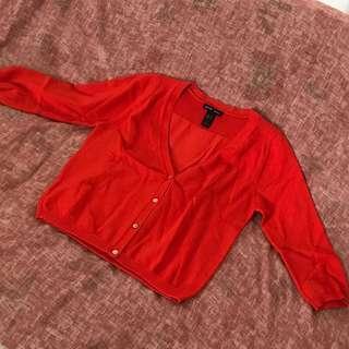 MANGO cropped orange cardigan like new!